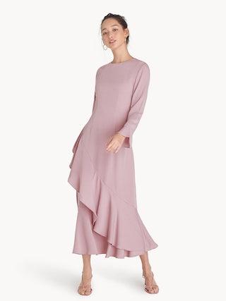 60ff283bb137 Maxi Long Sleeve Ruffled Dress - Pink - Pomelo Fashion