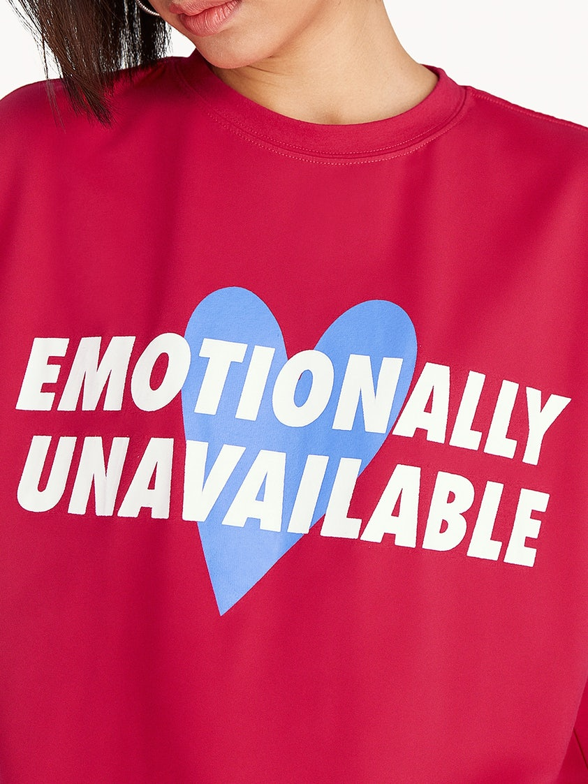 Emotionally Unavailable Graphic Tee - Red - Pomelo Fashion