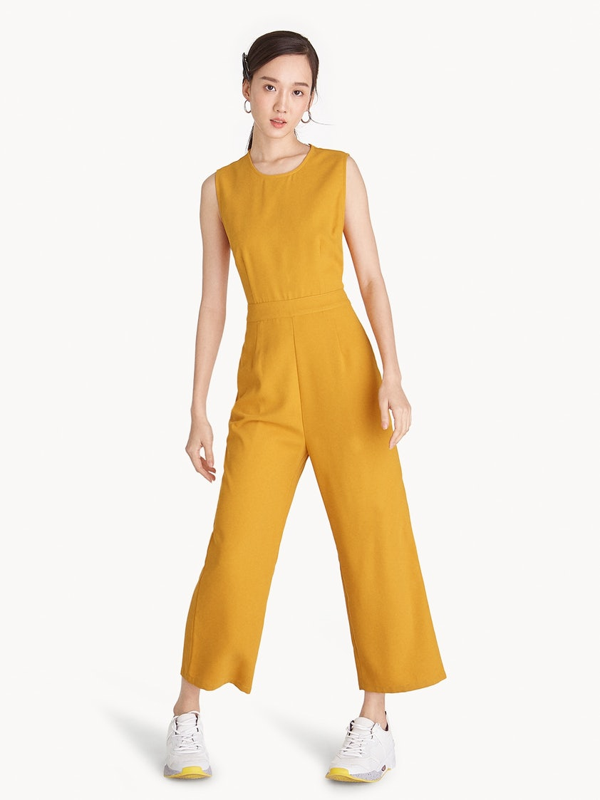 7c1ca2adac28 Buttoned Cut Out Back Jumpsuit - Yellow - Pomelo Fashion
