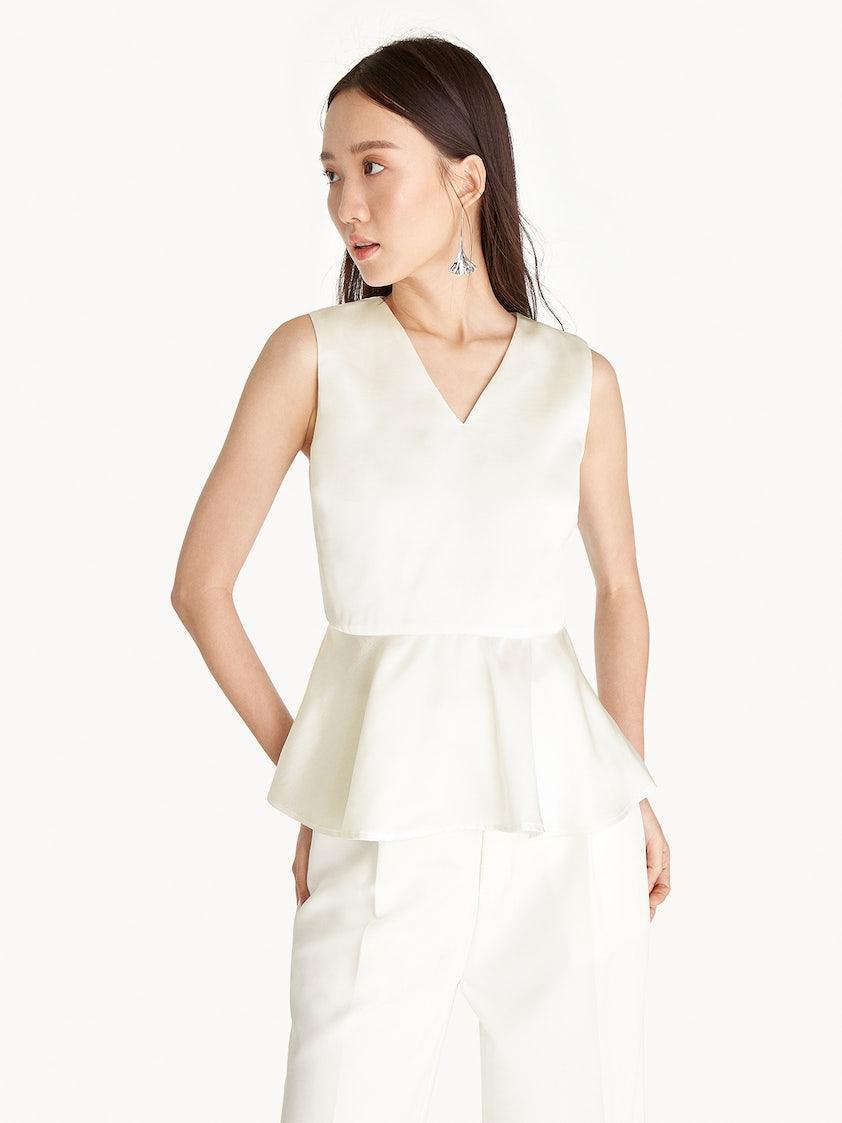 8bb5094e04ccc Sleeveless Peplum Top - White - Pomelo Fashion