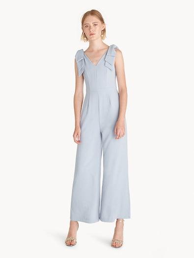 2dfc80ad45a5 Bow Shoulder Sleeveless Jumpsuit - Blue