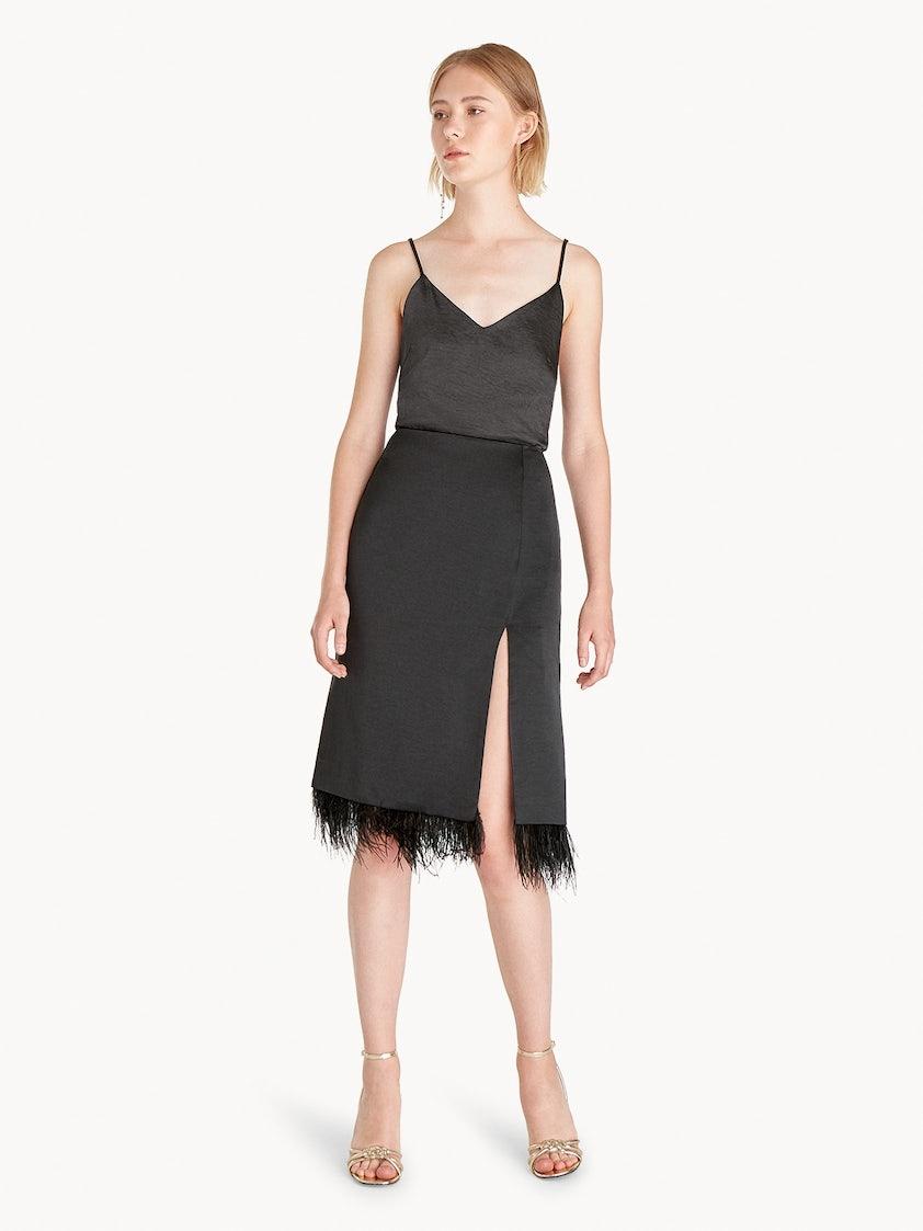 568d3d62675 Feather Trimmed Side Slit Skirt - Black - Pomelo Fashion