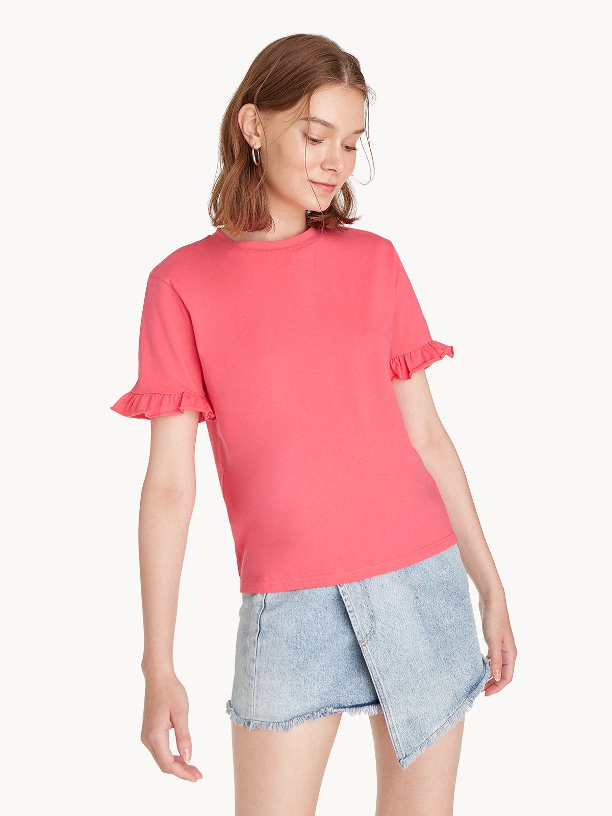 Frill Sleeve Round Neck Top