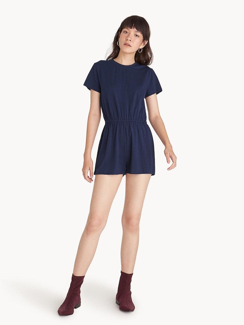 a4248bd90d1e Crew Neck Short Sleeve Romper - Navy - Pomelo Fashion
