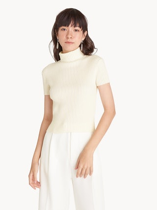 d8b28794acd Ribbed Turtle Neck Crop Top - White - Pomelo Fashion