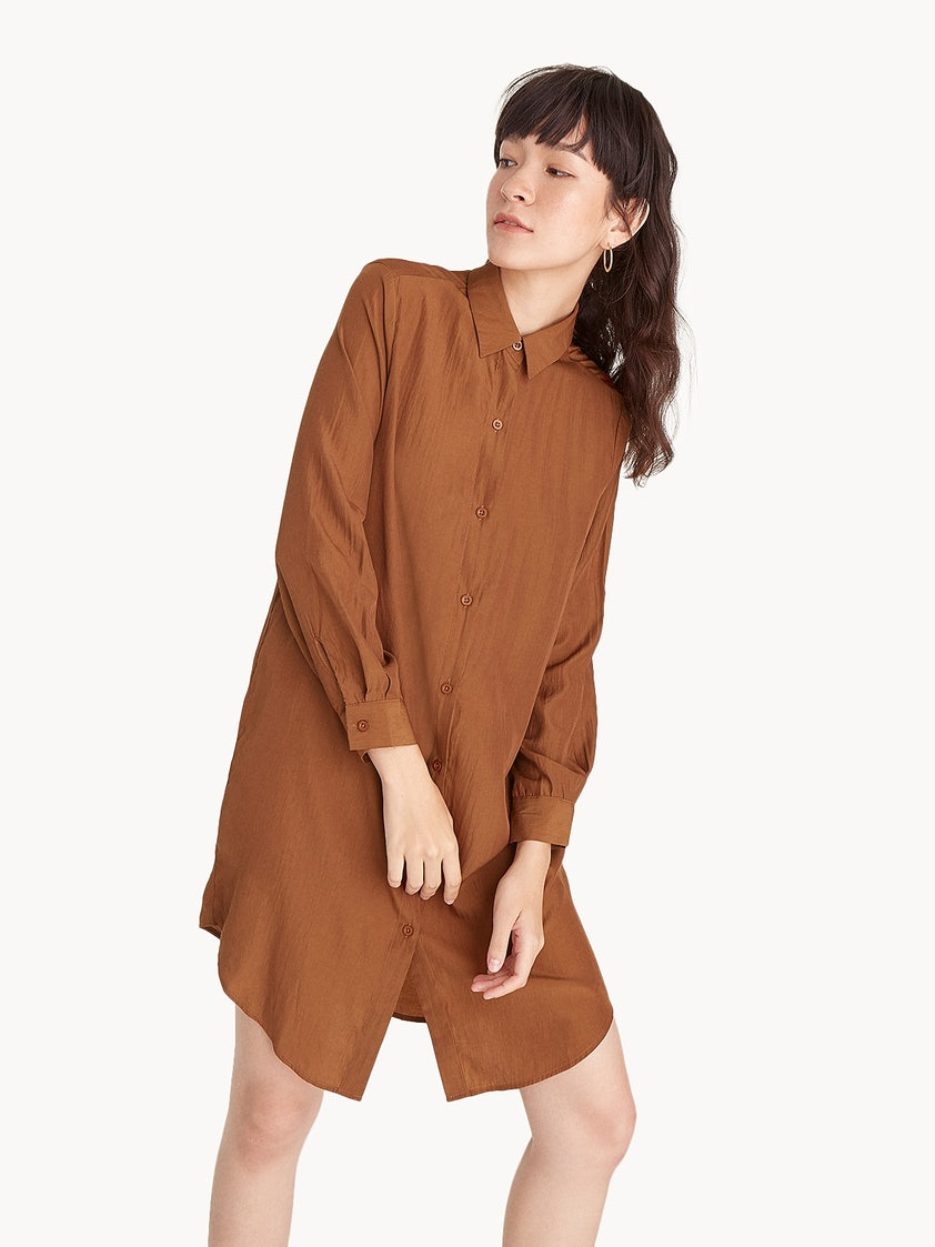 c4a9b5817d12 Midi Loose Button Up Shirt Dress - Brown - Pomelo Fashion