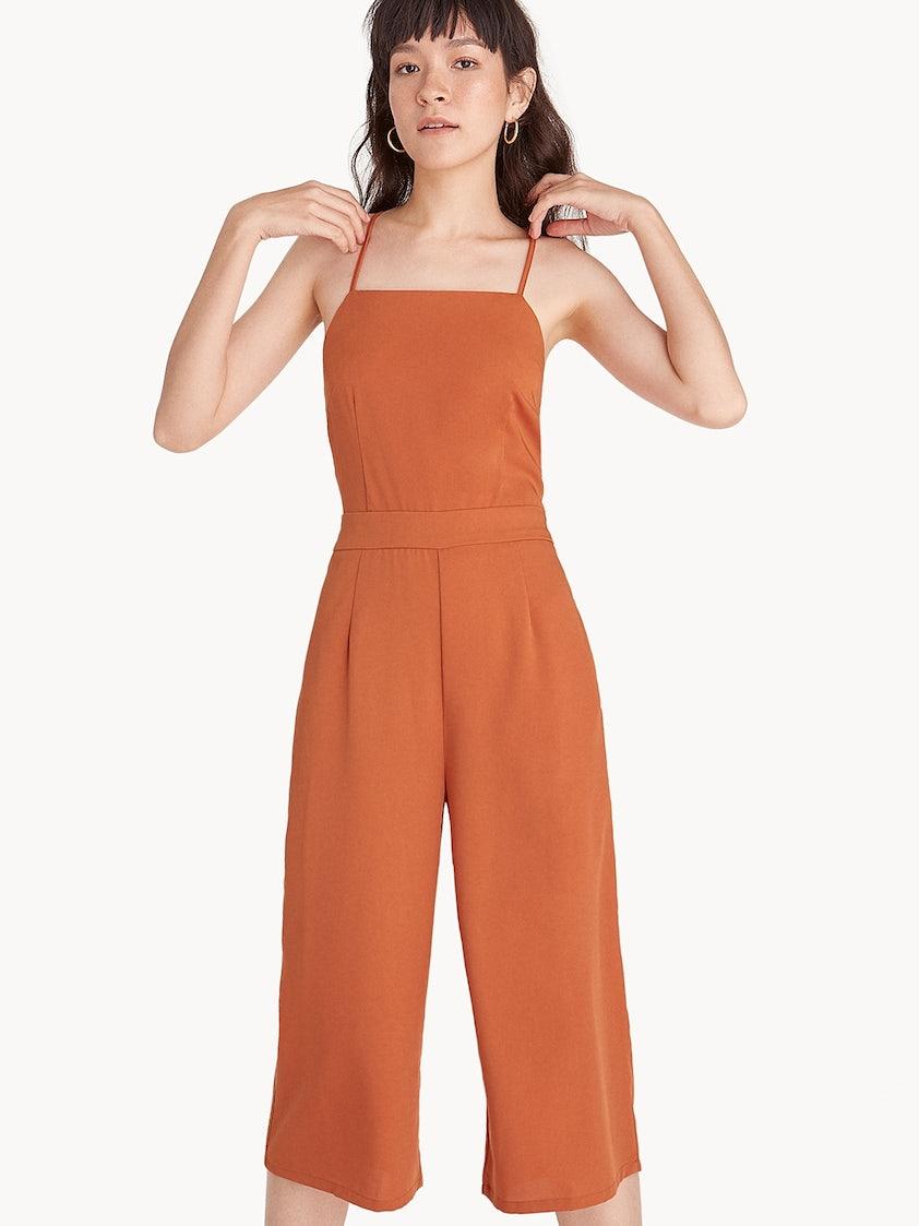 1e39889dda1 Spaghetti Strap Cross Back Jumpsuit - Orange - Pomelo Fashion