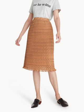 8308a0654 Midi Polka Dot Pleated Skirt - Orange - Pomelo Fashion