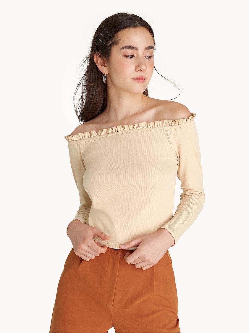 5383f0a96c335 Ruffle Trim Off Shoulder Crop Top - Cream - Pomelo Fashion