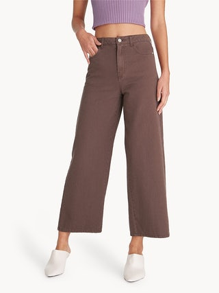 b1e50b3aa4d68 High Waisted Wide Leg Denim Jeans - Brown - Pomelo Fashion