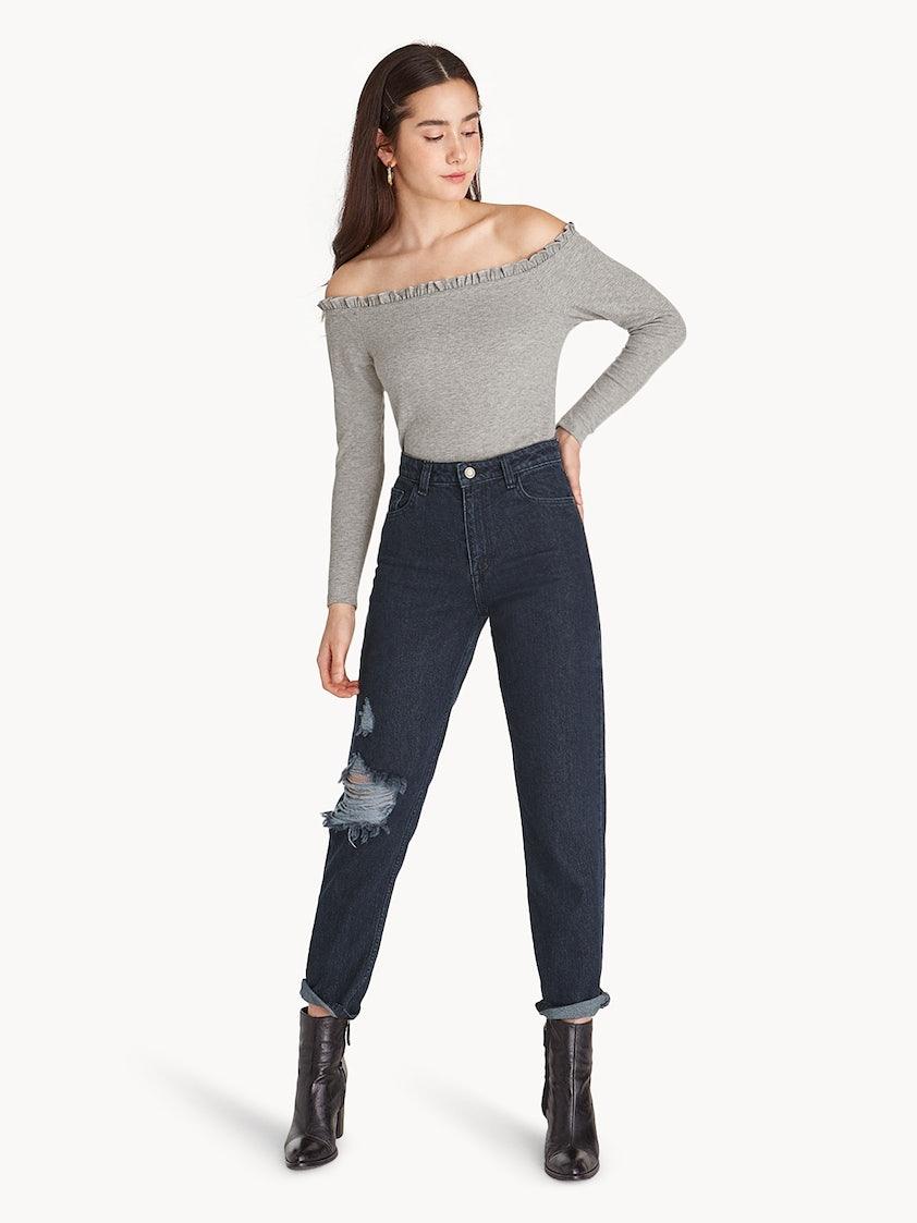 a36571dbc8a4 Ruffle Trim Off Shoulder Crop Top - Light Grey - Pomelo Fashion