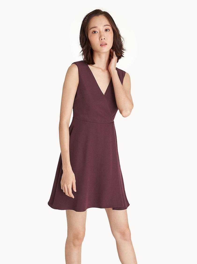 c88182acf669 Mini V Neck A-Line Dress - Burgundy - Pomelo Fashion