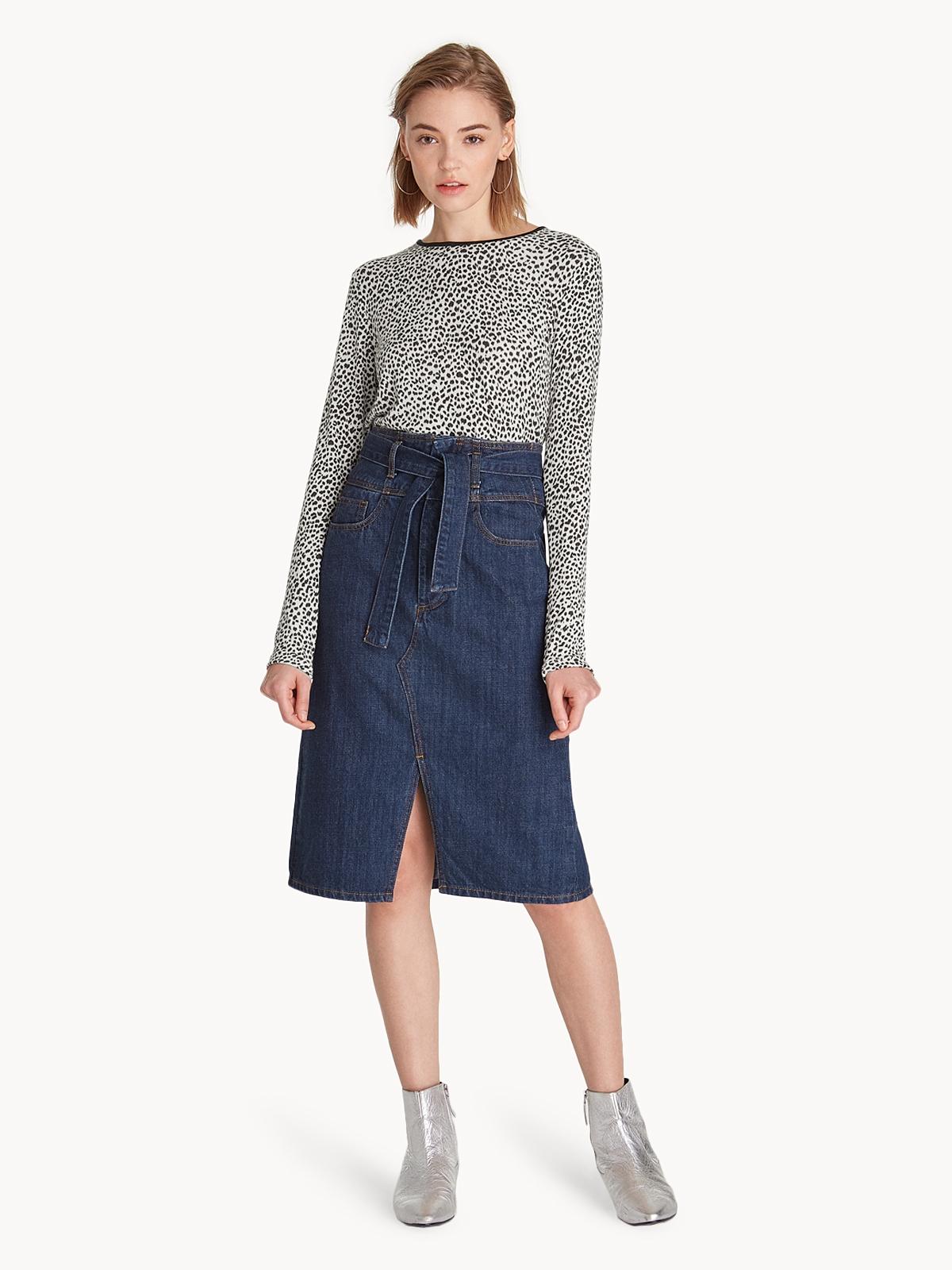 a92683fe52 Midi Front Slit Denim Skirt - Navy - Pomelo Fashion