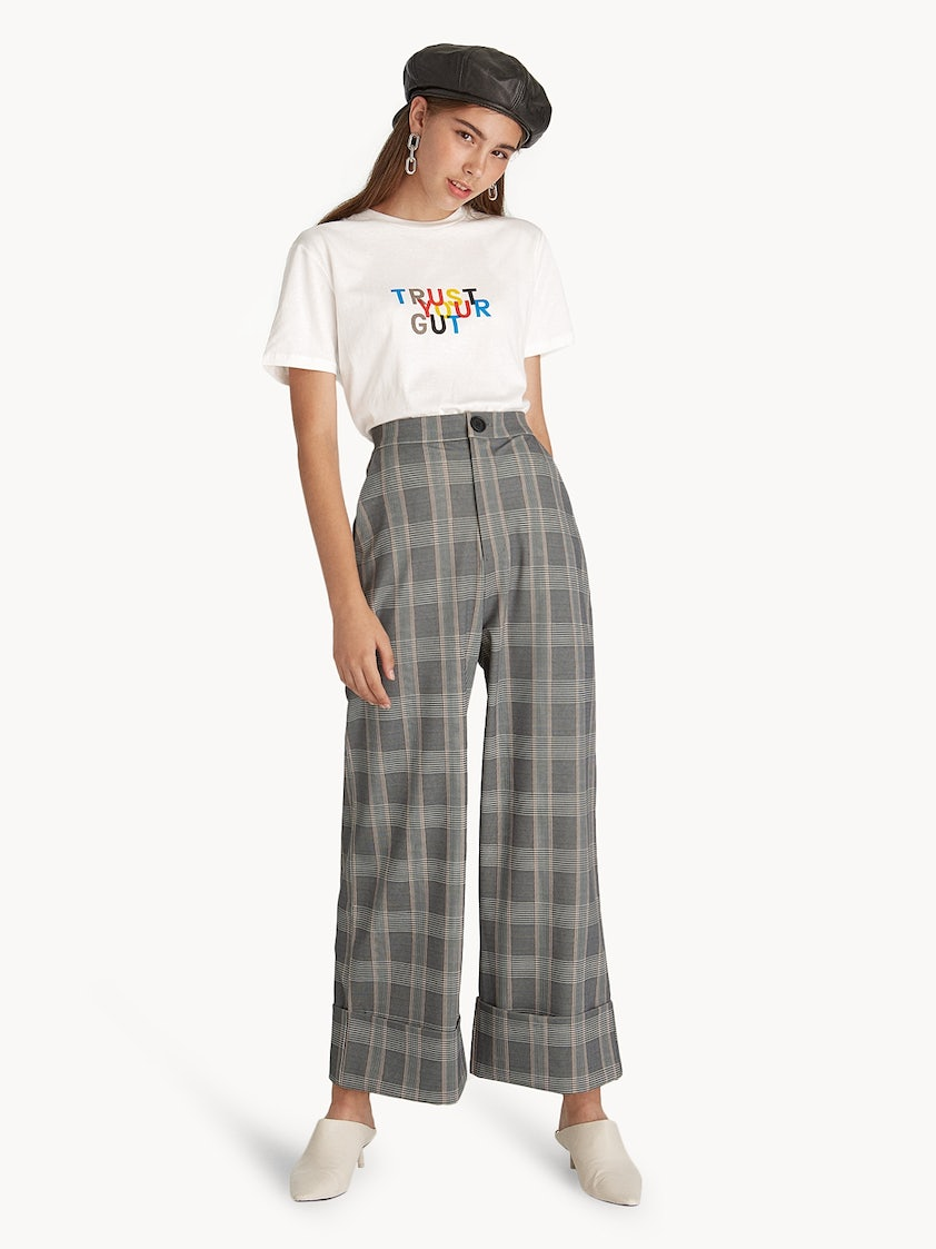 80f6902778 Glen Plaid Wide Leg Pants - Pomelo Fashion