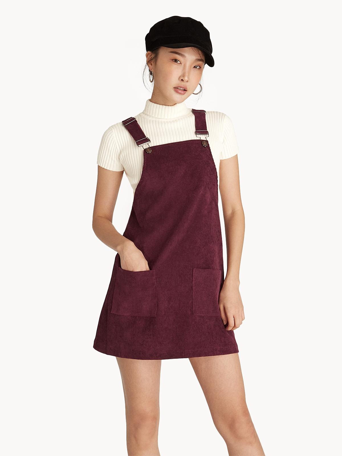 Mini Corduroy Overall Dress - Burgundy