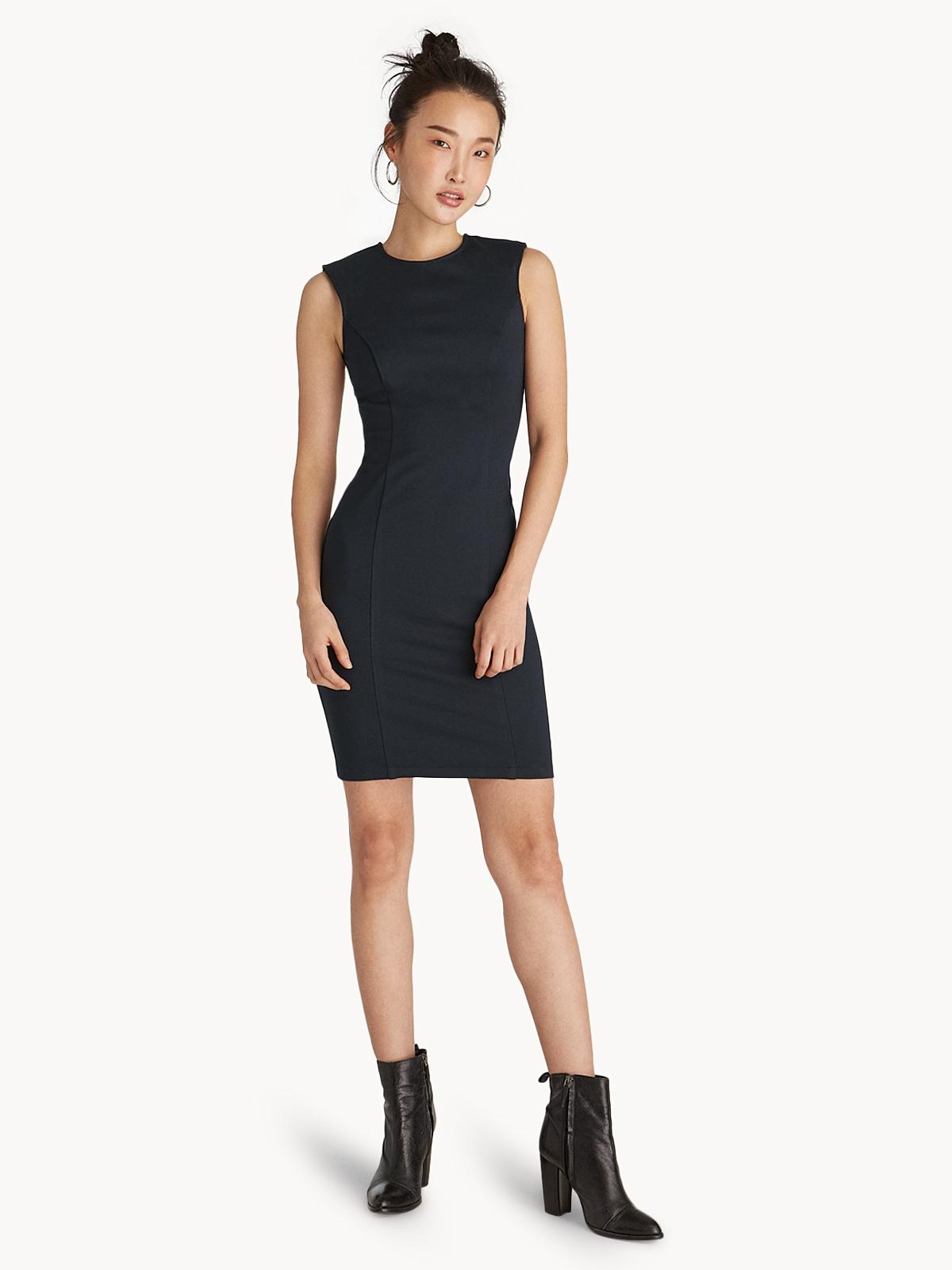 Mini Sleeveless Round Neck Bodycon Dress - Navy - Pomelo Fashion 771dad8c5