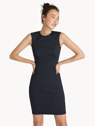 d81ac076f0a Mini Sleeveless Round Neck Bodycon Dress - Navy - Pomelo Fashion