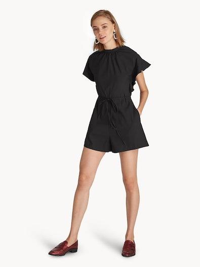 42472ffd5453 Ruffle Sleeve Drawstring Romper - Black