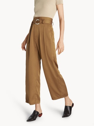 top-rated professional speical offer on feet shots of Buckle High Waist Trousers - Brown - Pomelo Fashion