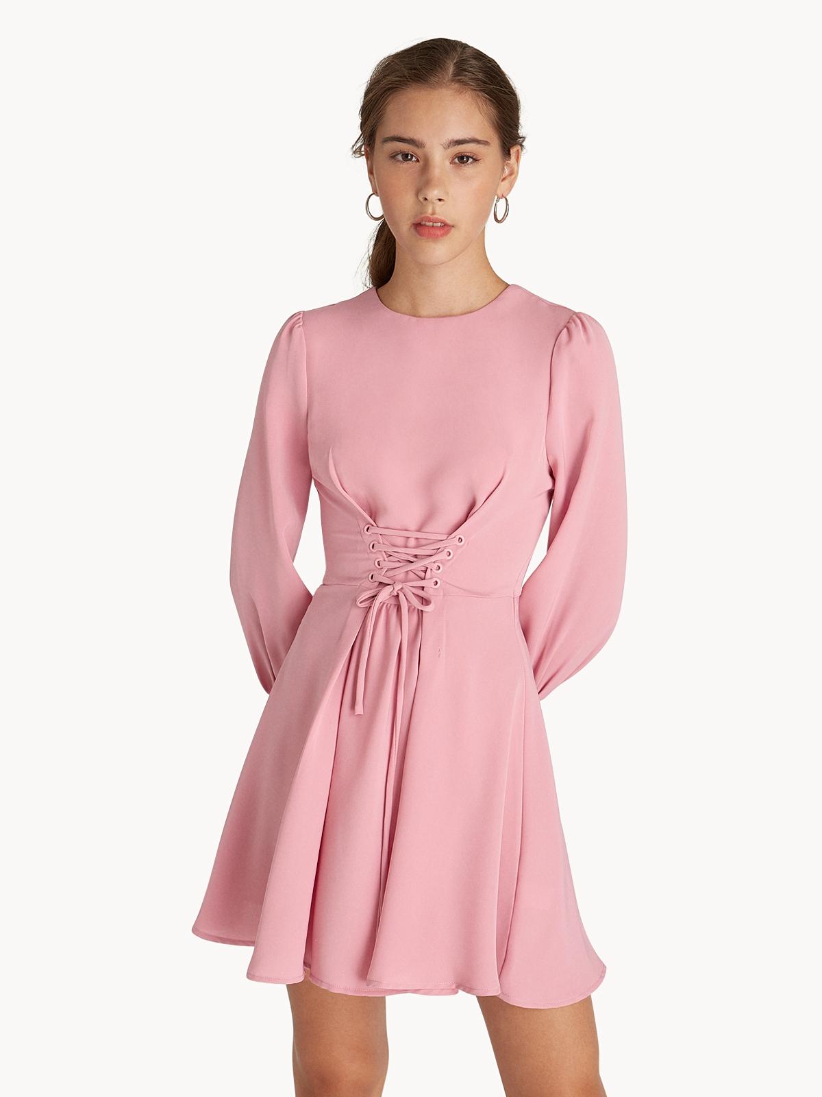 15671cb8b6d Mini Corset Lace Up Dress - Pink - Pomelo Fashion