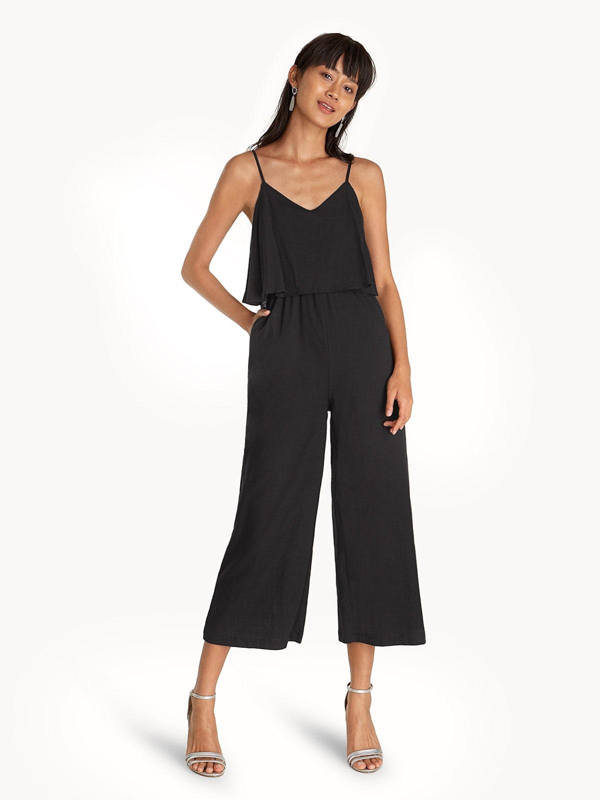 47e4e400ebb8 Relaxed Spaghetti Strap Jumpsuit - Black