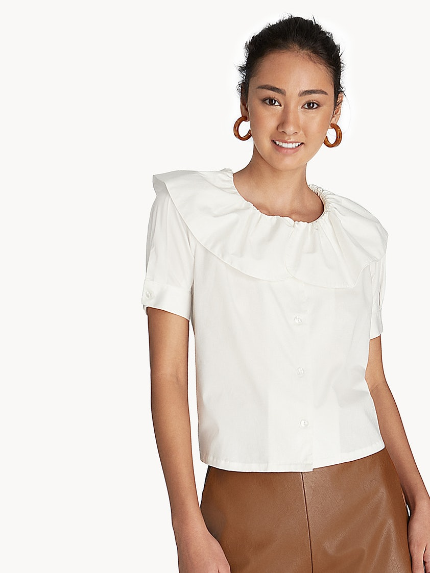 328f9850ab5240 Ruffle Neck Button Front Top - White - Pomelo Fashion