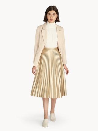 0c6e668c2f Metallic Pleat Skirt - Gold - Pomelo Fashion
