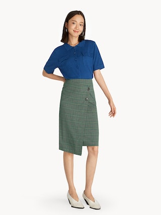 bd74c10c27 Midi Fold Over Plaid Pencil Skirt - Green - Pomelo Fashion