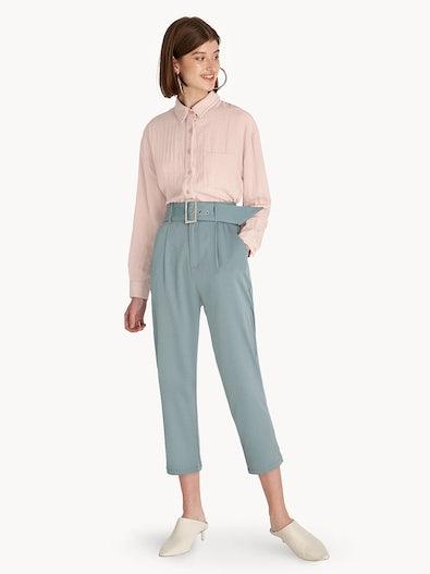 bca962a13740 High Waist Belted Straight Pants - Blue