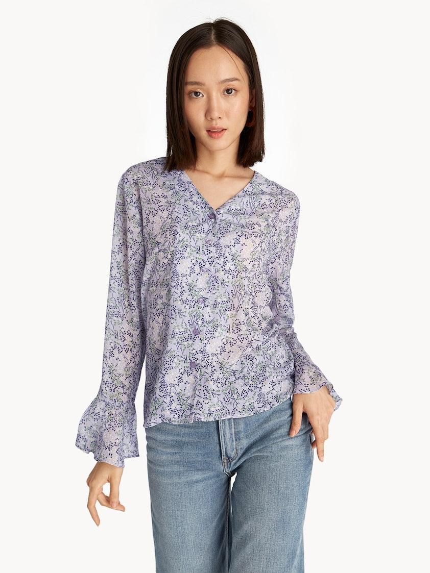 e392902f2f10 Floral Loose Bell Sleeve Shirt - Purple - Pomelo Fashion