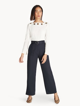 f53630d70c38 High Rise Belted Straight Leg Pants - Navy - Pomelo Fashion