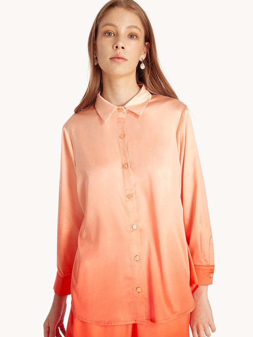 9fb8718df Satin Ombre Button Up Shirt - Orange - Pomelo Fashion