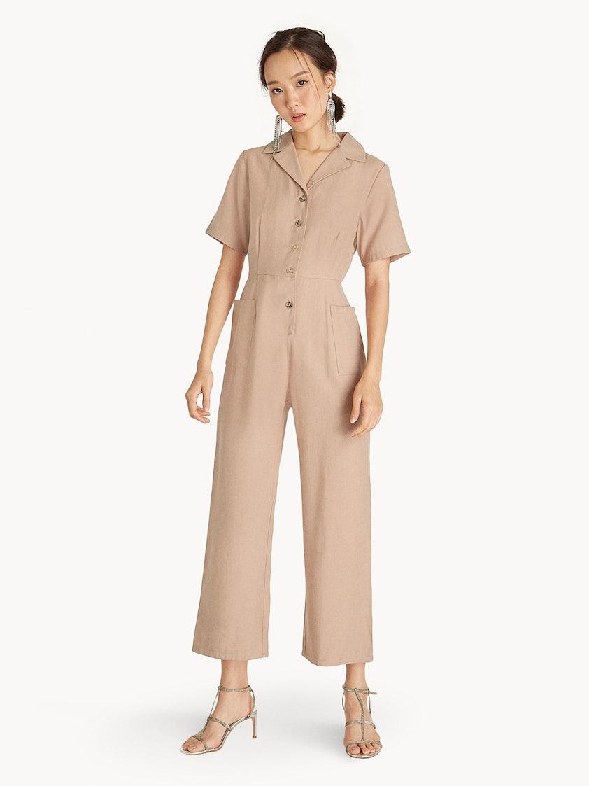25e67da3d7 Button Up Utility Jumpsuit - Beige - Pomelo Fashion