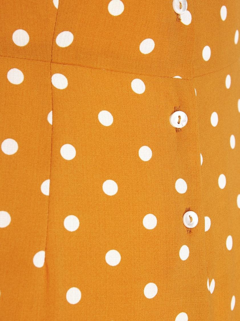 107915bd78b Puff Sleeves Button Down Polka Jumpsuit - Orange - Pomelo Fashion