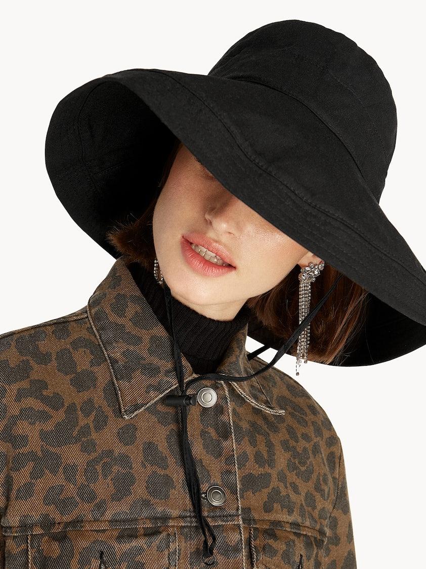 Drawstring Bucket Hat - Black - Pomelo Fashion 6eb2b43539f