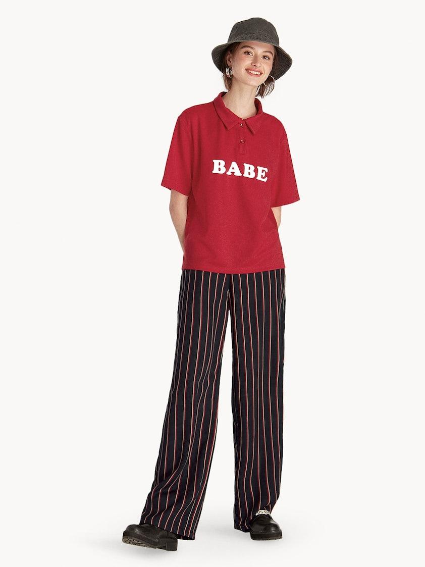 92c18825b21c44 Babe Graphic Polo Shirt - Red - Pomelo Fashion