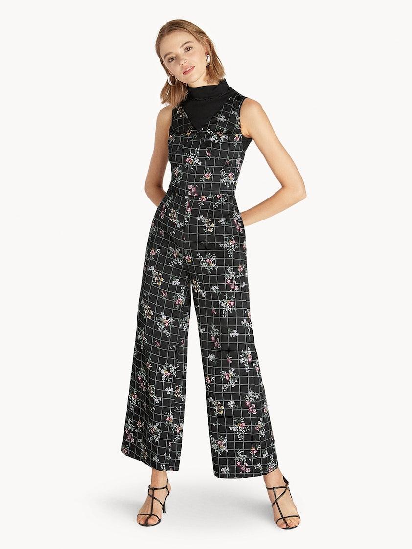 e0b2996223ab Sleeveless Floral Grid Jumpsuit - Pomelo Fashion