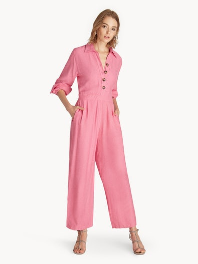 4ff912a3c897 Long Sleeves Button Up Jumpsuit - Pink