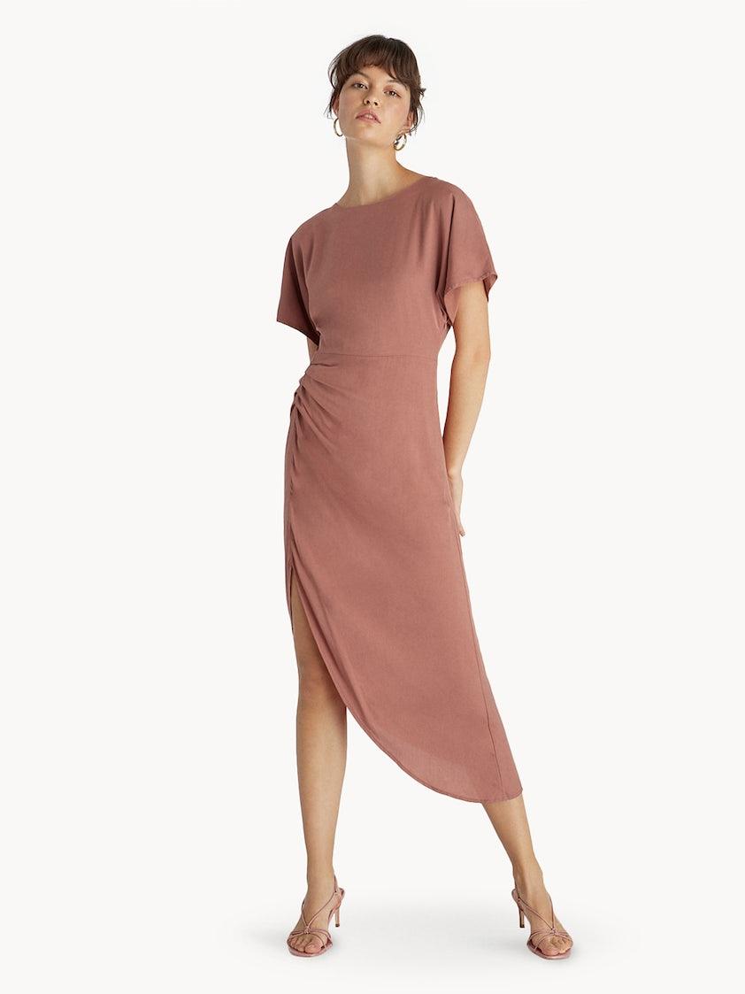 Premium Midi Ruched Side Slit Dress - Nude - Pomelo Fashion