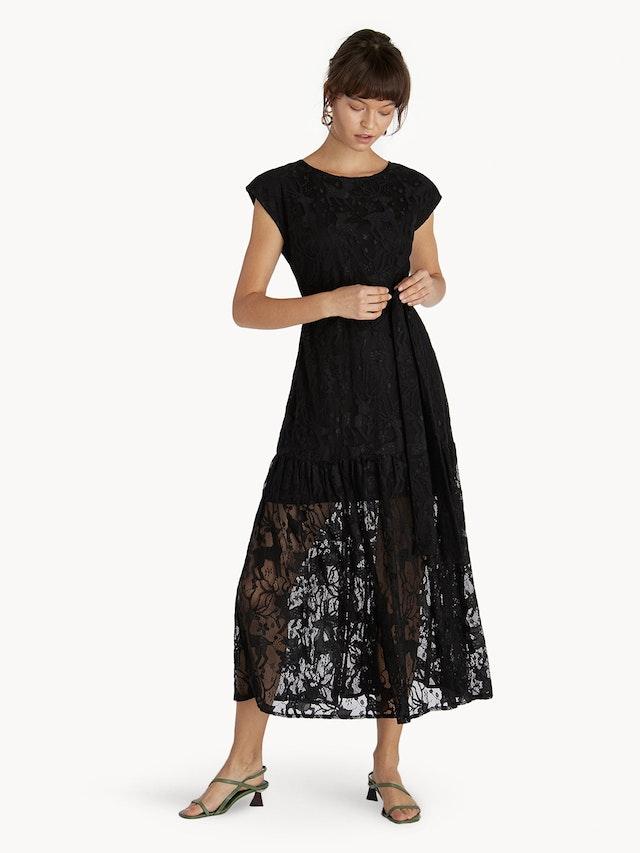f3bd8cdcf99d Premium Midi Lace Belted Skater Dress - Black - Pomelo Fashion