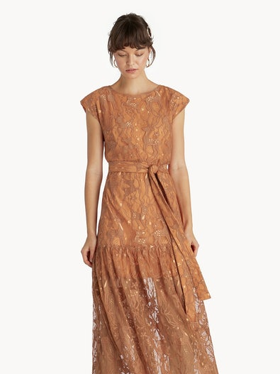 ef93f8a7afad10 Premium Midi Lace Belted Skater Dress - Orange