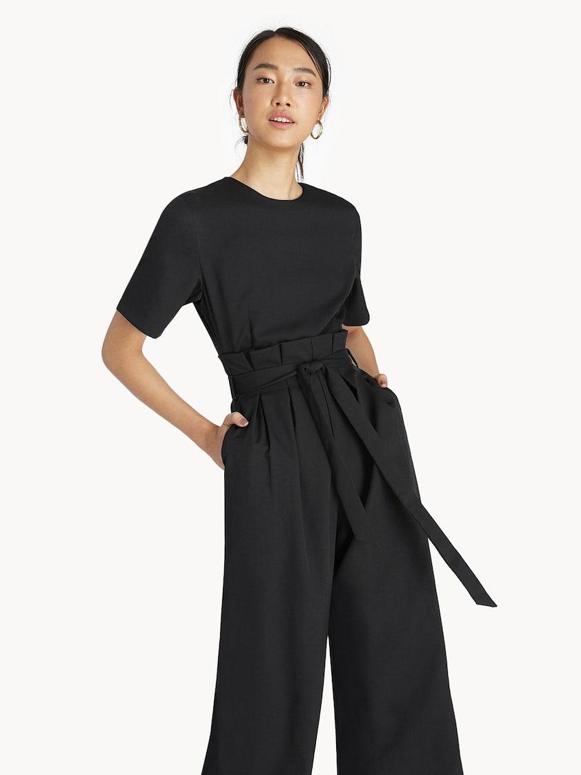f9b94d51666 Tie Waist Jumpsuit - Black - Pomelo Fashion