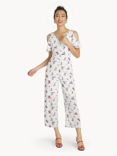15902dc489ed Floral Polka Dot Cold Shoulder Jumpsuit - White