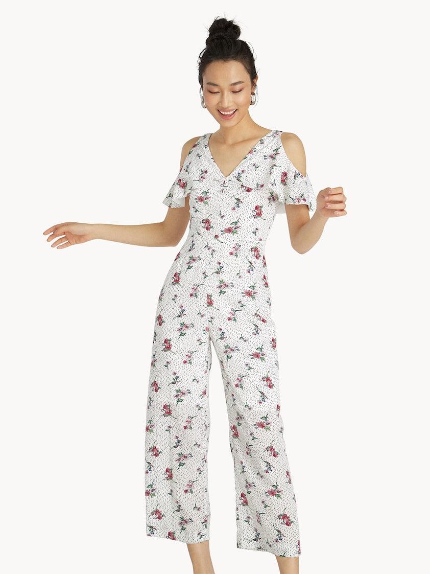 de0fd6c1a241 Floral Polka Dot Cold Shoulder Jumpsuit - White - Pomelo Fashion