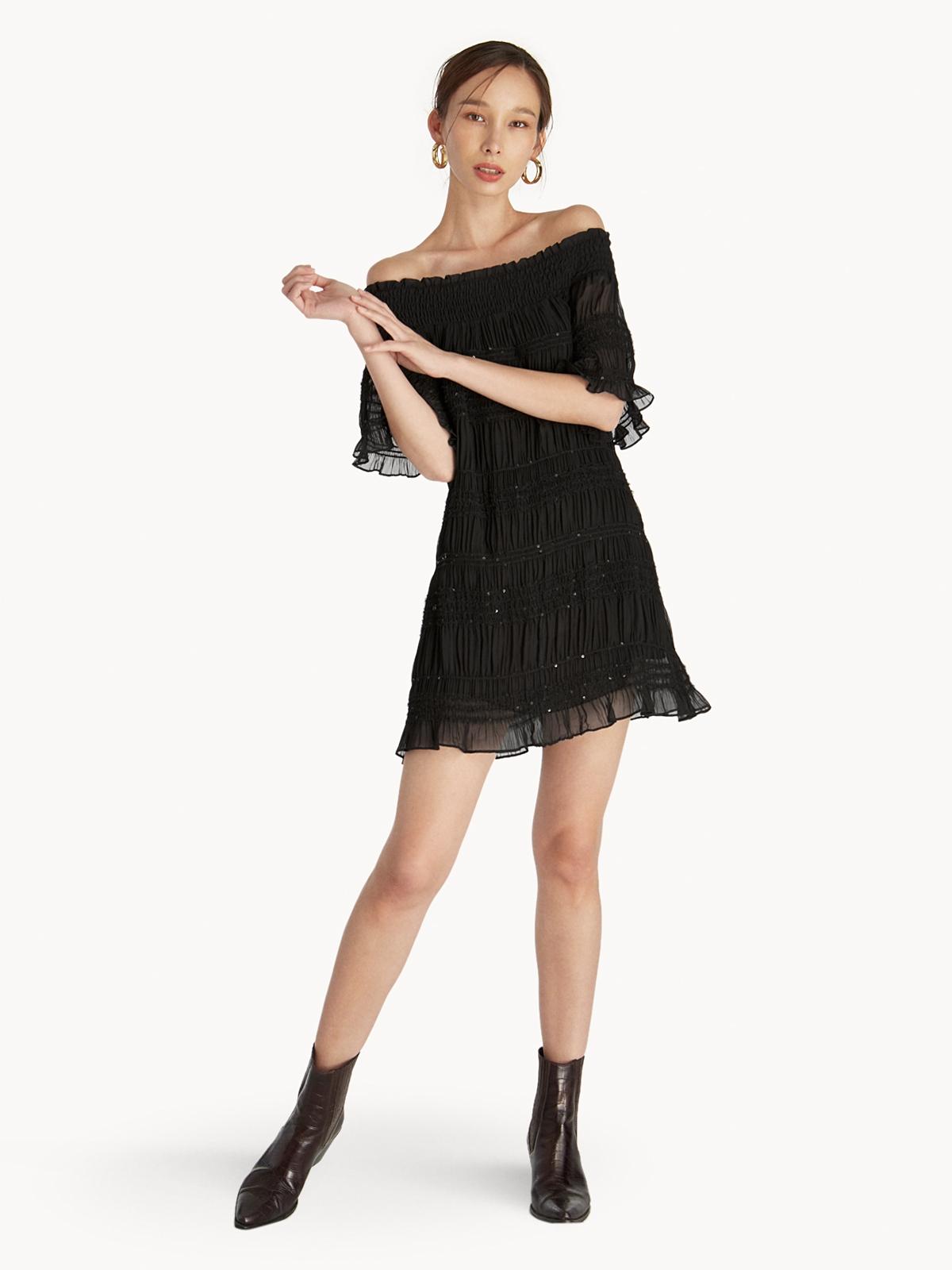 12470d6d034 Off Shoulder Frill Dress - Black - Pomelo Fashion