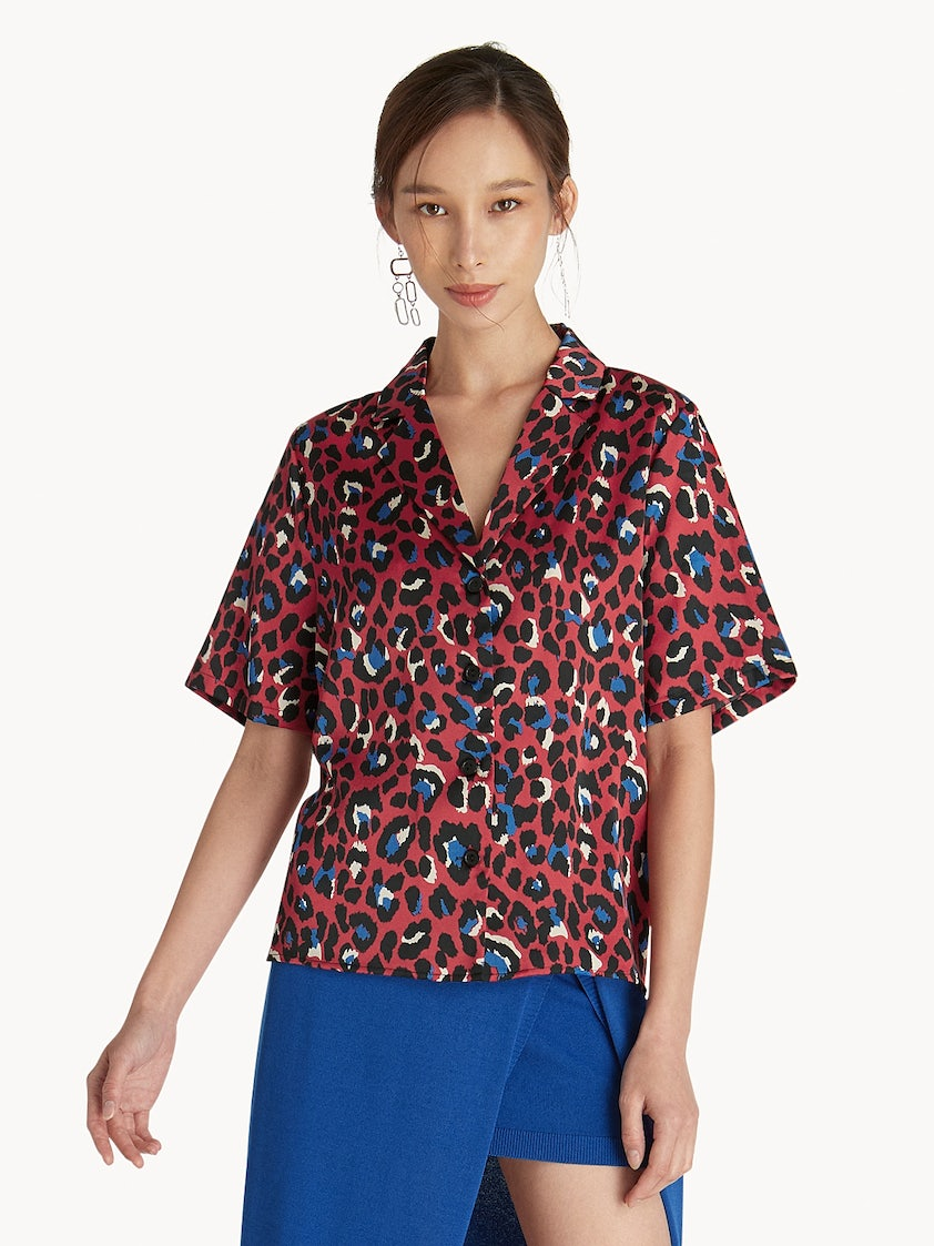 d7f2d87a6 Leopard Print Button Up Top - Red - Pomelo Fashion