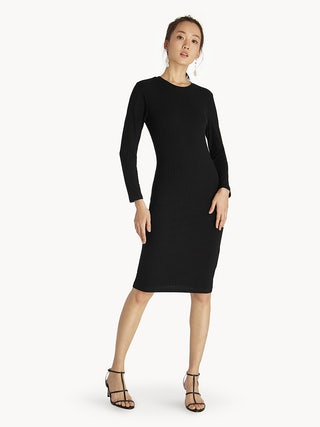 55fc34e299 Midi Ribbed Long Sleeve Dress - Black - Pomelo Fashion
