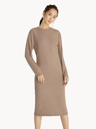 9955fe352111 Midi Ribbed Long Sleeve Dress - Beige - Pomelo Fashion