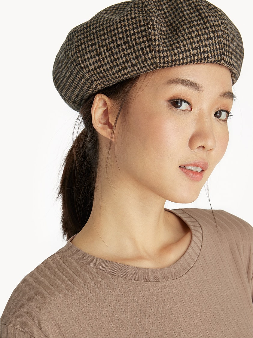 fd0fb3bd3b48b Houndstooth Beret Hat - Brown - Pomelo Fashion