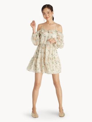 4d66f504430e2 Mini Cold Shoulder Floral Dress - Cream - Pomelo Fashion